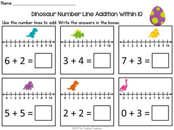 Dinosaur Number Line Addition & Subtraction Within 10 by The ...