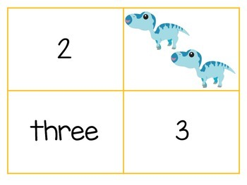 Dinosaur Number Matching Cards