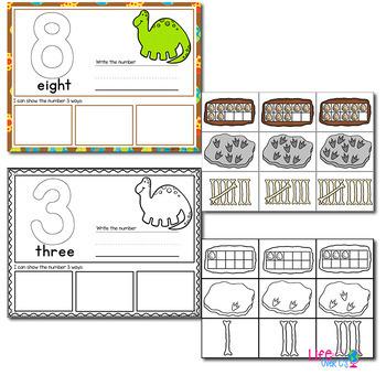 1-20 Dinosaur Number Recognition Mats   Ten-frames, Array, Tally Marks