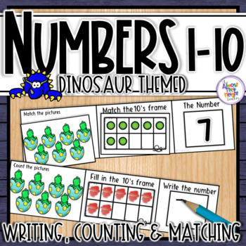 Dinosaur Number Sense 1-10  counting, matching, reading & writing numbers 1-10