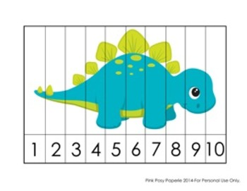 Dinosaur Number Counting Strip Puzzles - 5 Different Designs