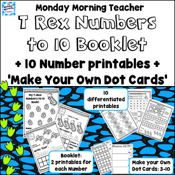 Distance Learning 3 Dino Numbers 1-10 Activities Booklet Printables & Dot Cards