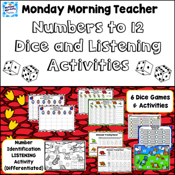 Dinosaur Numbers to 12 Dice and Listening Activities Differentiated!