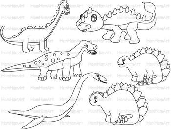 Dinosaur Outline School Clip Art baby dino animals children coloring line -078