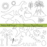 Dinosaur Outline Digital Stamps Clipart