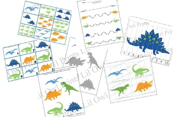 Dinosaur Pack - numbers, counting, matching, cutting & writing practice