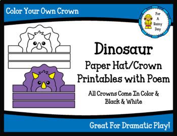 Dinosaur Paper Hat/Crown Printables with Poem Freebie