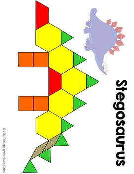 Dinosaur Pattern Block Templates by Teaching Where You\'re Called