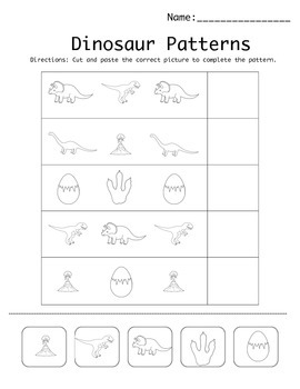 dinosaur pattern worksheet by kristina smiley teachers pay teachers. Black Bedroom Furniture Sets. Home Design Ideas