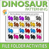 Dinosaur Patterning File Folder Activities