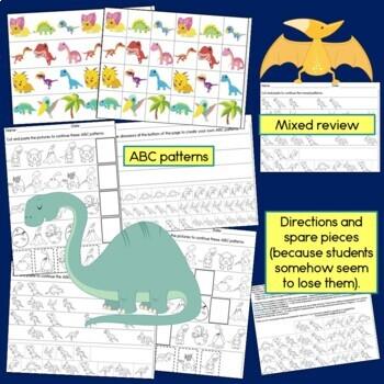 Dinosaur Patterns Math Center with AB, ABC, AAB & ABB Patterns
