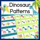 Dinosaur Patterns Math Center with AB, ABC, AAB & ABB Patterns