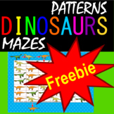 Dinosaur Patterns and Mazes File Folder Freebie