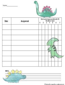Dinosaur Piano Assignment Chart