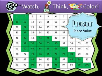 Dinosaur Place Value Practice - Watch, Think, Color Mystery Pictures