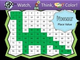Dinosaur Place Value Practice - Watch, Think, Color Myster