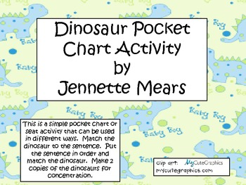 Dinosaur Pocket Chart Sentences