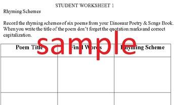 """""""Dinosaur"""" Poetry Student Worksheets"""