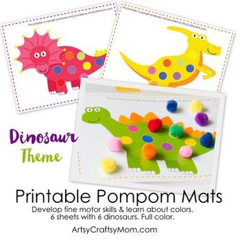 ★ Dinosaur Pom Pom Mats