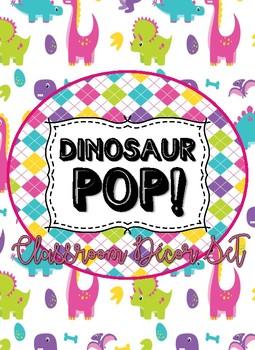 Dinosaur Pop Circle Time/Calendar Math Set Bonus Student Jobs Bulletin Board