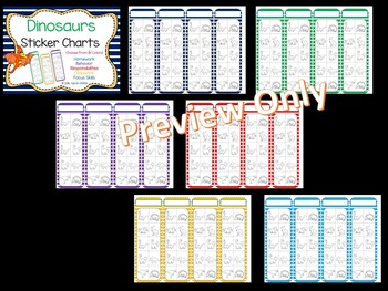 Dinosaur Positive Behavior Sticker Charts