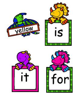 Dinosaur Pre Primer Sight Words