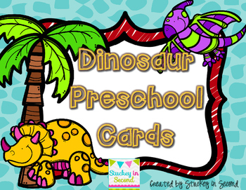 {$2 Deal} Dinosaur Preschool Cards (Letters, Numbers, Colo