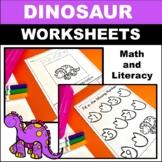 Preschool Math and Literacy Worksheets Dinosaurs
