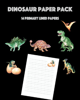 Dinosaur Primary Lined Paper Pack with Realistic Images of Dinosaurs