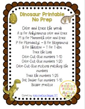 Dinosaur Printable No Prep