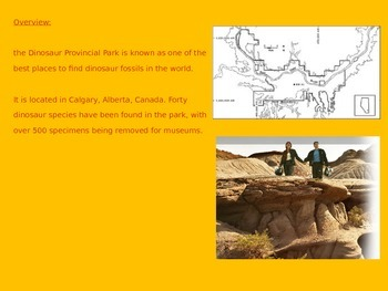 Dinosaur Provincial Park Power Point History Facts Pictures