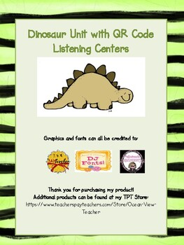 Dinosaur QR Code Unit and/or Centers