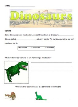 Dinosaur Quiz or Worksheet