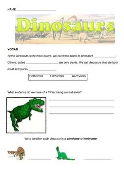 Dinosaur Quiz or Worksheet