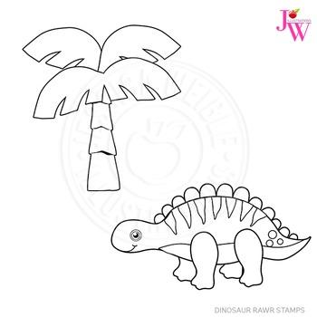 Dinosaur Rawr Cute Digital B&W Stamps, Dinosaur Line Art, Blackline