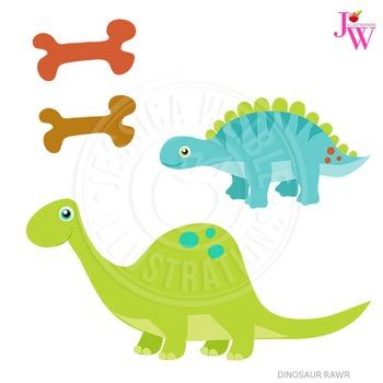Dinosaur Rawr Cute Digital Clipart, Dinosaur Graphics