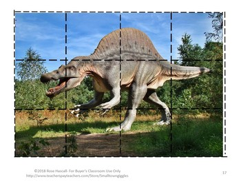 Dinosaur Realistic Photos Cut and Paste Puzzles. P-K, K, Special Ed, Autism