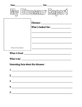 dinosaur report template and dinosaur creative writing template tpt