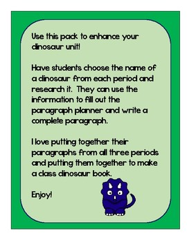 Dinosaur Research and Writing Pack