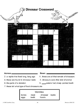 Dinosaur Riddles, Crosswords, and Puzzles