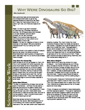 Dinosaur Science Literacy Articles - The Real Jurassic Park