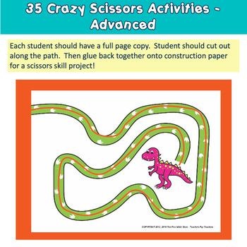 Fine Motor Dinosaur Scissors Skills Labs for Center Time!