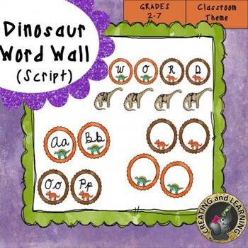 Dinosaur Script Word Wall