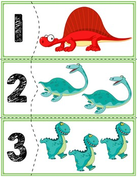 Dinosaur Self-Correcting Quantity Puzzles   Numbers 1-20