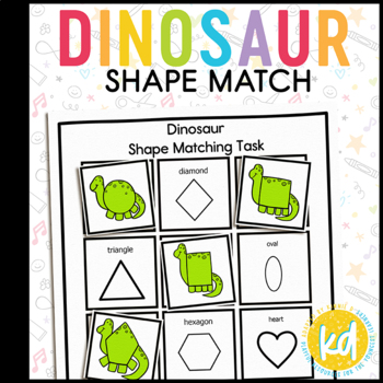 Dinosaur Shape Match File Folder Game for Early Childhood Special Education
