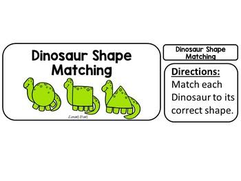 Dinosaur Shape Matching File Folder Game