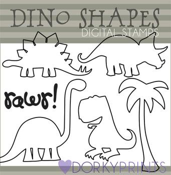 Dinosaur Shapes Black Line Art