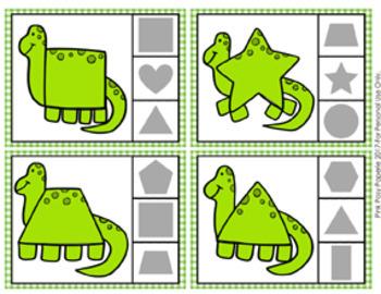 Dinosaur Shapes Clip Cards