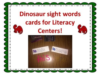 Dinosaur Sight Word Cards