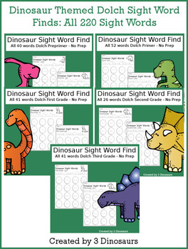 Dinosaur Sight Word Find (The Bundle)